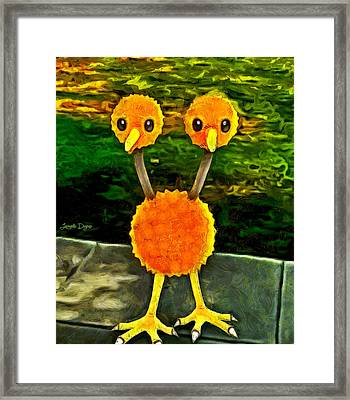 Pokemon Go Doduo - Da Framed Print by Leonardo Digenio
