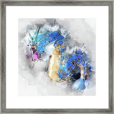 Pokemon Gyarados Abstract Portrait - By Diana Van Framed Print