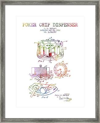 Poker Chip Dispenser Patent From 1962 - Rainbow Framed Print by Aged Pixel