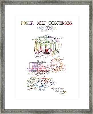Poker Chip Dispenser Patent From 1962 - Rainbow Framed Print