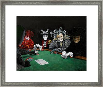Framed Print featuring the painting Poker Face by Jason Marsh