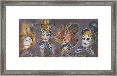 Framed Print featuring the painting Poker Game Faces by Nik Helbig