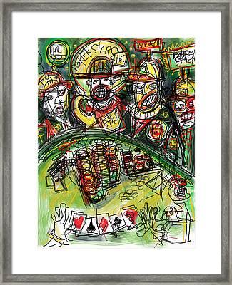 Poker Night Framed Print by Russell Pierce