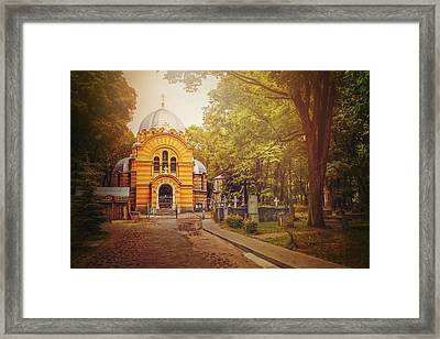 Pokrov Cemetery And Orthodox Church Riga Latvia  Framed Print