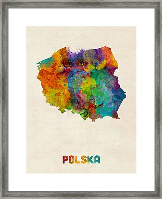 Poland Watercolor Map Framed Print by Michael Tompsett