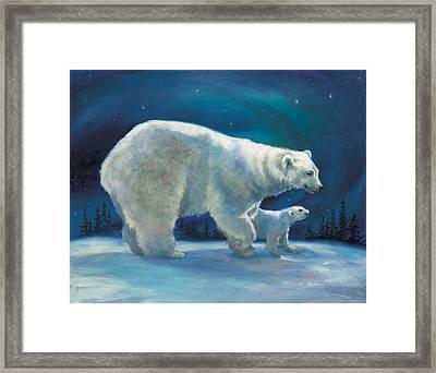 Polar Bear And Cub Framed Print by Laurie Hein