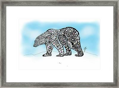 Framed Print featuring the digital art Polar Bear Doodle by Darren Cannell