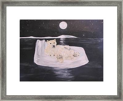 Polar Bear On Ice Framed Print
