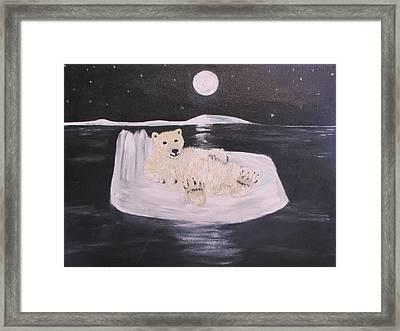 Polar Bear On Ice Framed Print by Aleta Parks