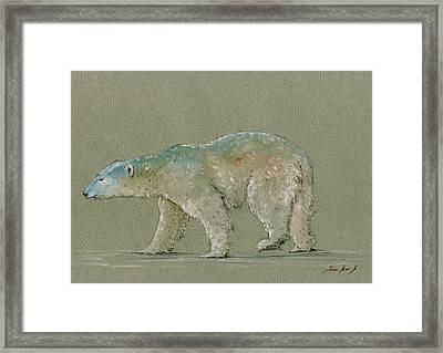 Polar Bear Original Watercolor Painting Art Framed Print by Juan  Bosco