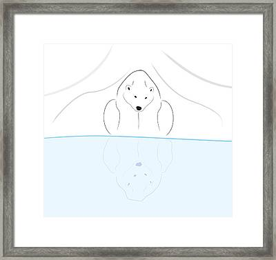 Polar Bear Reflection Framed Print