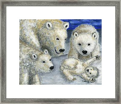 Polar Bears At Play In The Arctic Framed Print by Tanna Lee M Wells
