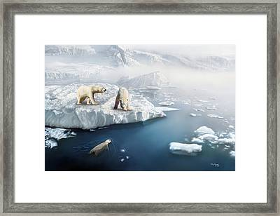 Framed Print featuring the digital art Polar Bears by Thanh Thuy Nguyen