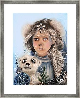 Framed Print featuring the drawing Polar Precious  by Sheena Pike
