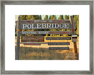 Polebridge Business Directory Framed Print by Adam Jewell