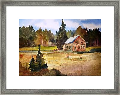 Polebridge Mt Cabin Framed Print by Larry Hamilton