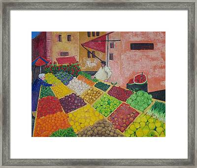 Polermo Street Market Framed Print by Lore Rossi