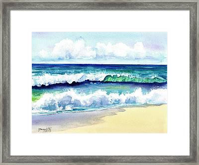 Framed Print featuring the painting Polhale Waves 3 by Marionette Taboniar