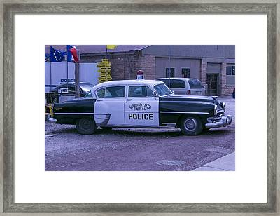 Police Car Seligman Azorina Framed Print by Garry Gay
