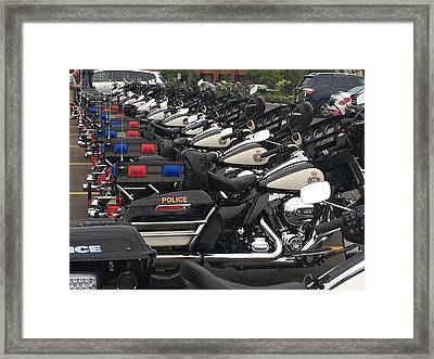 Police Cruisers In A Row Framed Print by Diane Litster