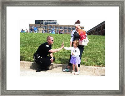 Police High Five Framed Print