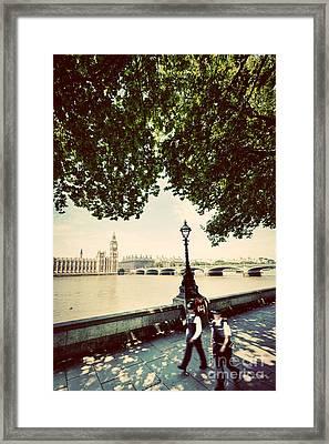 Police Officers Opposite To Big Ben In London Uk. Vintage Retro Style Framed Print