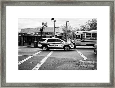 police police ford interceptor suv patrol vehicle on call Boston USA Framed Print