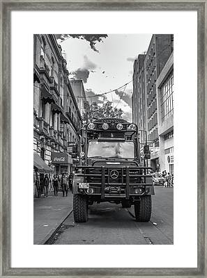 Police Truck - Mexico City Framed Print by Totto Ponce