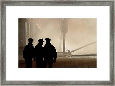 Police Watching Firefighters During Moose Jaw New Years Fire Framed Print