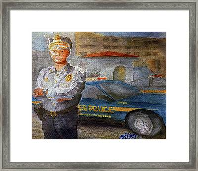 Policeman Framed Print by Darrell Mcgahhey