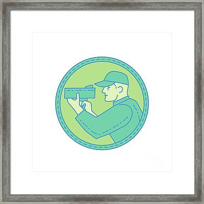 Policeman Speed Radar Gun Circle Mono Line Framed Print