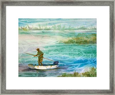 Poling The Flats Framed Print by Ruth Mabee