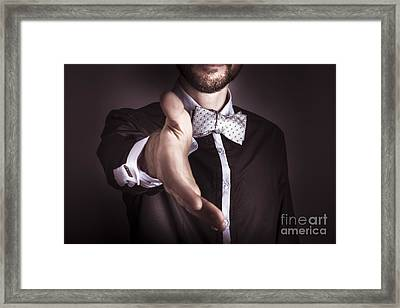 Polite Sophisticated Man Offering His Hand Framed Print