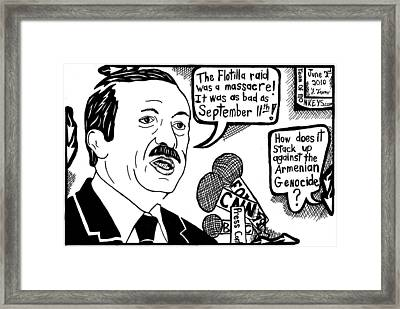 Political Cartoon On Erdogan Framed Print by Yonatan Frimer Maze Artist