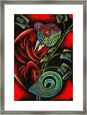 Political Chameleon Framed Print by Leon Zernitsky