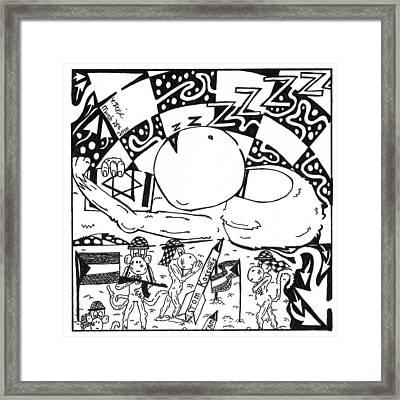 Political Maze Cartoon Israel-gaze Situation Framed Print by Yonatan Frimer Maze Artist