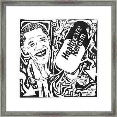 Political Maze Cartoon On Obamacare Framed Print by Yonatan Frimer Maze Artist