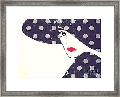 Polka Dot Fashion Hat Framed Print by Mindy Sommers
