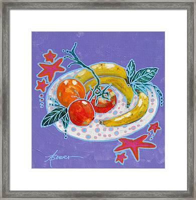 Polka-dot Plate  Framed Print by Adele Bower