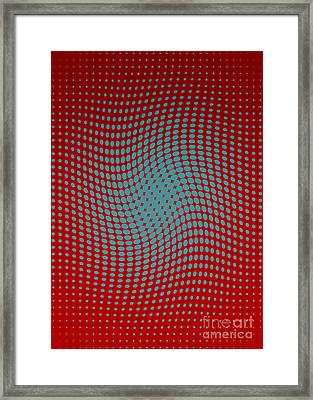 Polka Dots With A Twist Red And Blue Op-art Framed Print by Heidi De Leeuw