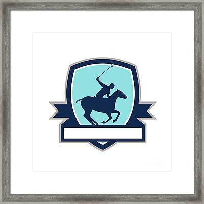 Polo Player Riding Horse Crest Retro Framed Print