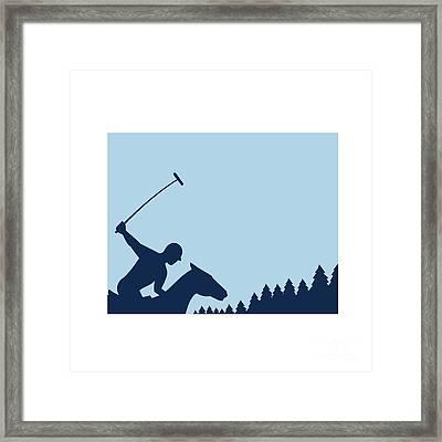 Polo Player Riding Horse Trees Square Retro Framed Print