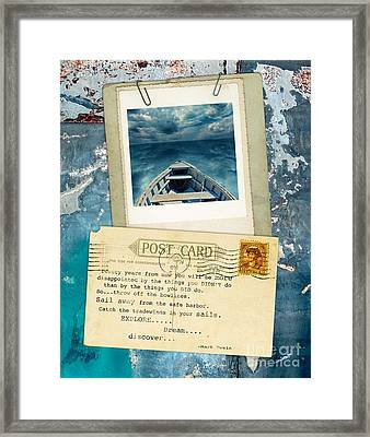 Poloroid Of Boat With Inspirational Quote Framed Print