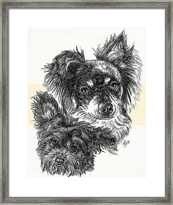 Pomapoo Father And Son Framed Print by Barbara Keith