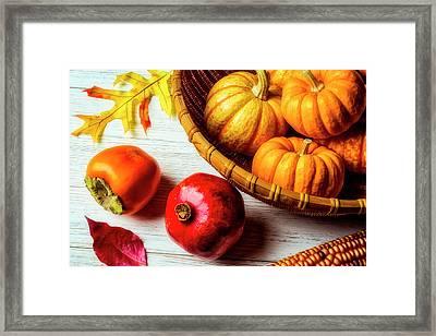 Pomegranate And Basket Of Pumpkins Framed Print
