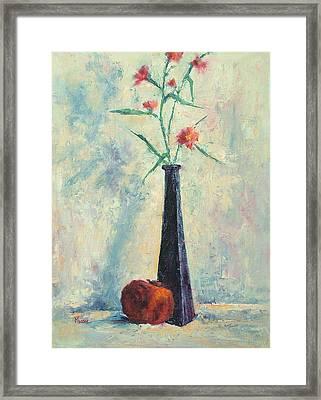 Pomegranate And Black Vase Framed Print by Jill Musser