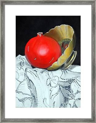 Pomegranate And Pot Framed Print by Kostas Koutsoukanidis