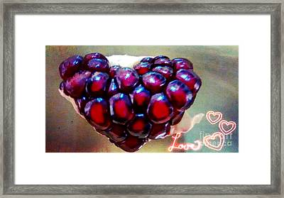 Framed Print featuring the digital art Pomegranate Heart by Genevieve Esson