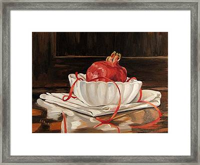 Pomegranate In White Framed Print by Cheryl Pass
