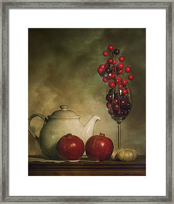 Pomegranates And Tea Pot Framed Print by Levin Rodriguez